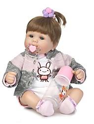 Недорогие -NPKCOLLECTION Куклы реборн Девочки 18 дюймовый Винил - как живой, Искусственные имплантации Голубые глаза Детские Девочки Подарок