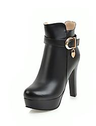 Недорогие -Жен. Обувь Полиуретан Наступила зима Модная обувь Ботинки На толстом каблуке Круглый носок Ботинки Белый / Черный / Бежевый