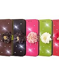 Недорогие -Кейс для Назначение Apple iPhone X / iPhone 8 Pluss / iPhone 8 Кошелек / Бумажник для карт / Стразы Чехол Однотонный / Цветы Твердый Кожа PU