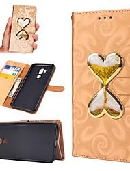 Недорогие -Кейс для Назначение LG G7 Кошелек / Бумажник для карт / Движущаяся жидкость Чехол С сердцем Твердый Кожа PU для LG G7