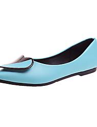 baratos -Mulheres Sapatos Couro Ecológico Primavera Verão Conforto Rasos Caminhada Salto Baixo Dedo Apontado Penas Preto / Azul / Rosa claro