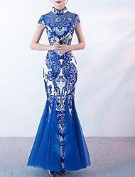 cheap -Women's Slim Trumpet / Mermaid Dress Print Maxi Stand