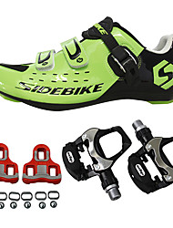 cheap -SIDEBIKE Adults' Cycling Shoes With Pedals & Cleats / Road Bike Shoes Carbon Fiber Cushioning Cycling Green Men's / Breathable Mesh