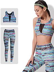 abordables -Femme Mosaïque Pantalon de yoga avec top - Bleu Des sports Imprimé Spandex Taille Haute Course / Running, Fitness, Gymnastique Tenues de Sport UPF 50+, Respirable, Séchage rapide Elastique
