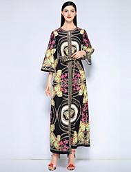 tanie -Damskie Wyjściowe Plaża Vintage Moda miejska Bawełna Luźna Jalabiya Sukienka - Kwiaty, Nadruk Maxi