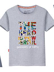 baratos Ofertas Semanais-Homens Camiseta Básico Sólido / Arco-Íris / Letra Decote Redondo / Manga Curta