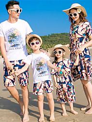 baratos -Adulto Olhar de família Estampa Colorida Manga Curta Conjunto
