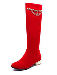cheap -Women's Shoes Suede Fall & Winter Fashion Boots Boots Block Heel Round Toe Knee High Boots Black / Red / Blue / Party & Evening