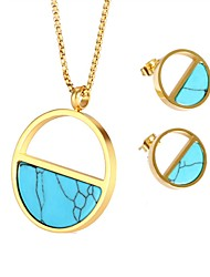 cheap -Women's Turquoise Jewelry Set - Bohemian, Natural Include Stud Earrings / Necklace Gold For Gift / Night out&Special occasion