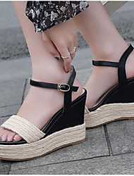 cheap -Women's Shoes Nappa Leather Spring Comfort Heels Wedge Heel White / Black / Light Brown