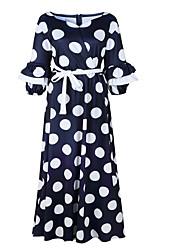 cheap -Women's Basic Swing Dress - Polka Dot Lace up