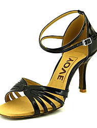 cheap -Women's Latin Shoes / Ballroom Shoes Satin Sandal / Heel Buckle Customizable Dance Shoes Yellow / Fuchsia / Purple