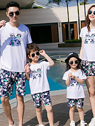 cheap -Family Look Solid Colored Short Sleeve Clothing Set