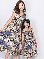 abordables -Maman et moi Géométrique Sans Manches Robe