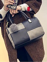 お買い得  -女性用 バッグ PU トート ポンポン ブラック / グレー / レッドブラック