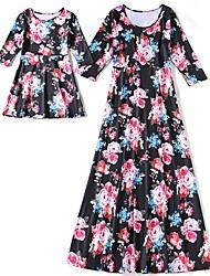 economico -Bambino Mamma e io Fantasia floreale / Monocolore Mezza manica Vestito