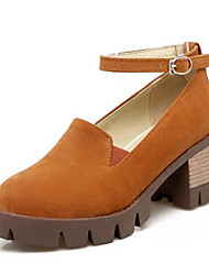 cheap -Women's Shoes Suede Spring & Summer Ankle Strap Heels Block Heel Round Toe Buckle Black / Yellow / Burgundy