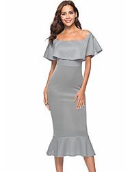 Недорогие -Жен. Тонкие Оболочка Платье Вырез лодочкой Средней длины