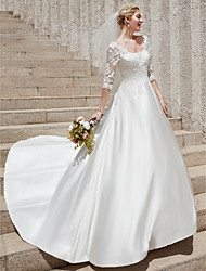 cheap -A-Line Scoop Neck Court Train Satin Made-To-Measure Wedding Dresses with Appliques by LAN TING BRIDE® / See-Through