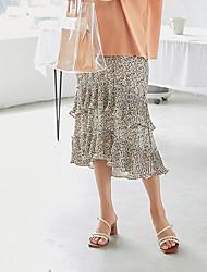 povoljno -ženske plaže midi swing suknje - cvjetni