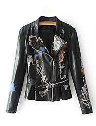 baratos -Mulheres Jaquetas de Couro Para Noite Sólido Colarinho Chinês