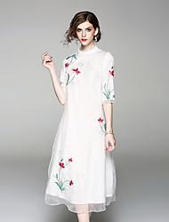 Недорогие -Жен. Винтаж / Шинуазери (китайский стиль) С летящей юбкой Платье - Цветочный принт, Вышивка Воротник-стойка Средней длины