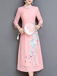 baratos -Mulheres Temática Asiática Bainha Vestido - Bordado Médio