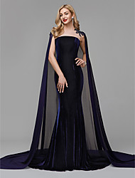 cheap -Mermaid / Trumpet Jewel Neck Court Train Chiffon / Velvet Formal Evening Dress with Beading / Appliques by TS Couture®