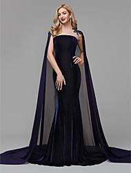 economico -A sirena Con decorazione gioiello Strascico di corte Chiffon / Velluto Serata formale Vestito con Perline / Con applique di TS Couture®