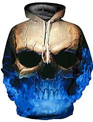 Недорогие -Муж. Классический / преувеличены Большие размеры Свободный силуэт Брюки - 3D / Черепа С принтом Синий / Капюшон / Длинный рукав / Осень / Зима