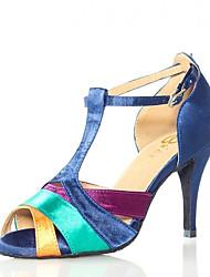 Недорогие -Жен. Обувь для латины Сатин Сандалии Планка Тонкий высокий каблук Танцевальная обувь Синий