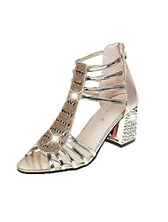 abordables -Mujer Zapatos PU Verano Gladiador Sandalias Tacón Cuadrado Punta abierta Purpurina Dorado / Plateado / Fiesta y Noche / Fiesta y Noche