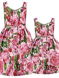 abordables -Adultes Maman et moi Basique Quotidien Fleur Sans Manches Polyester Robe Rose Claire