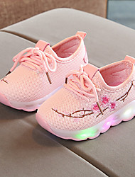 cheap -Boys' / Girls' Shoes Mesh Spring / Fall / Spring & Summer Comfort / Light Up Shoes Sneakers Lace-up / Flower / LED for Kids / Baby White / Black / Pink