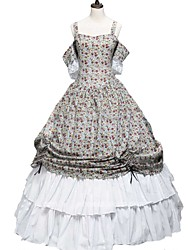 billige -Cosplay Lolita / Victoriansk Kostume Dame Kjoler / Festkostume Trykt mønster Vintage Cosplay 50% Bomuld / 50% Polyester / Ren bomuld Kortærmet Kolde skulder Halloween Kostumer