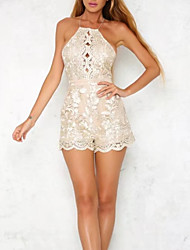 cheap -Women's Romper - Solid Colored / Polka Dot, Lace / Backless / Embroidered