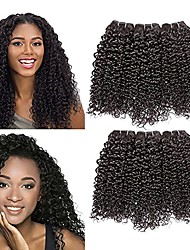 cheap -Mongolian Hair / Kinky Curly Curly Natural Color Hair Weaves / One Pack Solution 3 Bundles 8-28 inch Human Hair Weaves Machine Made Best Quality / Hot Sale / 100% Virgin Natural Black Human Hair