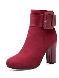 Недорогие -Жен. Обувь Полиуретан Наступила зима Модная обувь Ботинки На толстом каблуке Круглый носок Ботинки Красный / Зеленый / Миндальный