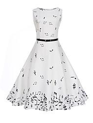 abordables -Femme Sortie / Travail Rétro Midi Trapèze Robe - Imprimé, Abstrait Taille haute Printemps Eté Blanc L XL XXL Sans Manches / Sexy