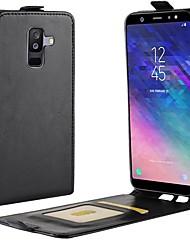 Недорогие -Кейс для Назначение SSamsung Galaxy A8 2018 / A6 (2018) Бумажник для карт / Флип Чехол Однотонный Твердый Кожа PU для A6 (2018) / A6+ (2018) / A8 2018