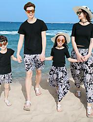 baratos -Adulto Olhar de família Floral Manga Curta Camiseta