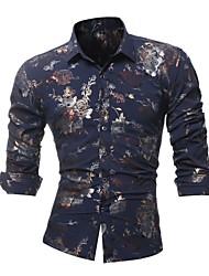 economico -Camicia Per uomo Serata Fantasia floreale Cotone / Si prega di scegliere una taglia più grande di una misura, rispetto alla solita.