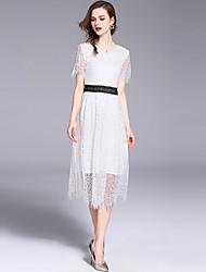 お買い得  -女性用 ヴィンテージ / ストリートファッション Aライン ドレス - レース, ソリッド ミディ