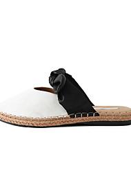 Недорогие -Жен. Обувь Полотно / Полиуретан Лето Босоножки Башмаки и босоножки На плоской подошве Заостренный носок Белый