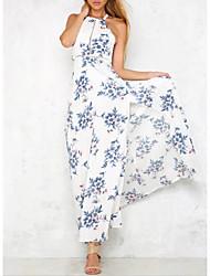 cheap -women's chiffon dress - floral maxi halter neck