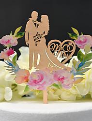 preiswerte -Tortenfiguren & Dekoration Klassisch / Hochzeit Ausgeschnitten Holz / Bambus Hochzeit / Jahrestag mit Seide aushöhlen 1 pcs OPP