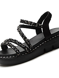 cheap -Women's Shoes PU(Polyurethane) Summer Comfort Sandals Creepers Round Toe Rhinestone Black / Silver