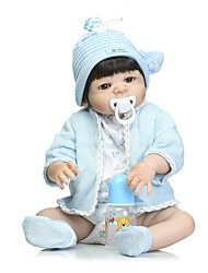 cheap -NPKCOLLECTION Reborn Doll Baby Boy 24 inch Full Body Silicone / Vinyl - Artificial Implantation Brown Eyes Kid's Boys' Gift