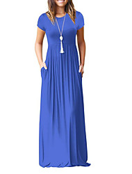 cheap -Women's Going out Swing Dress - Solid Colored High Waist Maxi / Summer