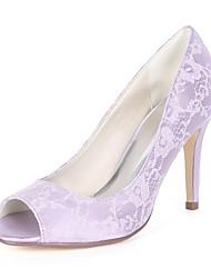 cheap -Women's Shoes Satin Spring & Summer Basic Pump Wedding Shoes Stiletto Heel Peep Toe Green / Blue / Ivory / Party & Evening